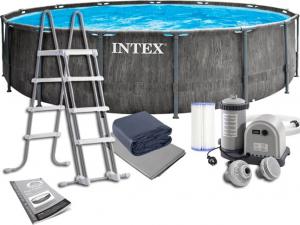 Каркасный бассейн Intex  26744 549х122 Grey Wood Prism Frame Premium