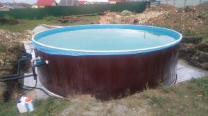 Сборный бассейн ЛАГУНА 45714 круглый 457х125 см (темное дерево)